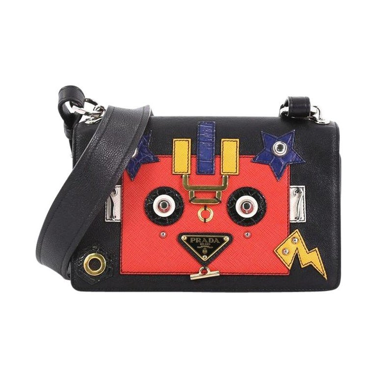 07b1c94deb08 Prada Robot Flap Shoulder Bag Mixed Media Leather Small For Sale at ...