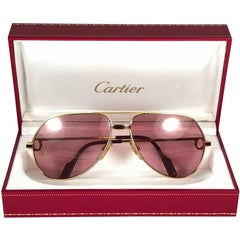 Cartier Laque de Chine Aviator Gold 62Mm Heavy Plated Sunglasses France