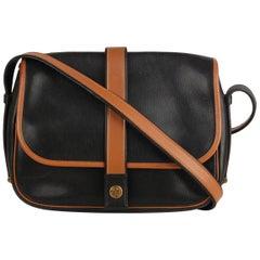 Hermes Vintage Black and Tan Leather Noumea Shoulder Bag