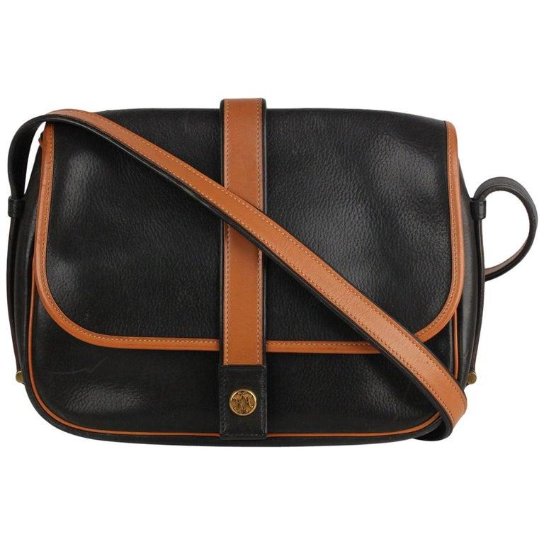 f9daaae9a719 Hermes Vintage Black and Tan Leather Noumea Shoulder Bag For Sale at ...