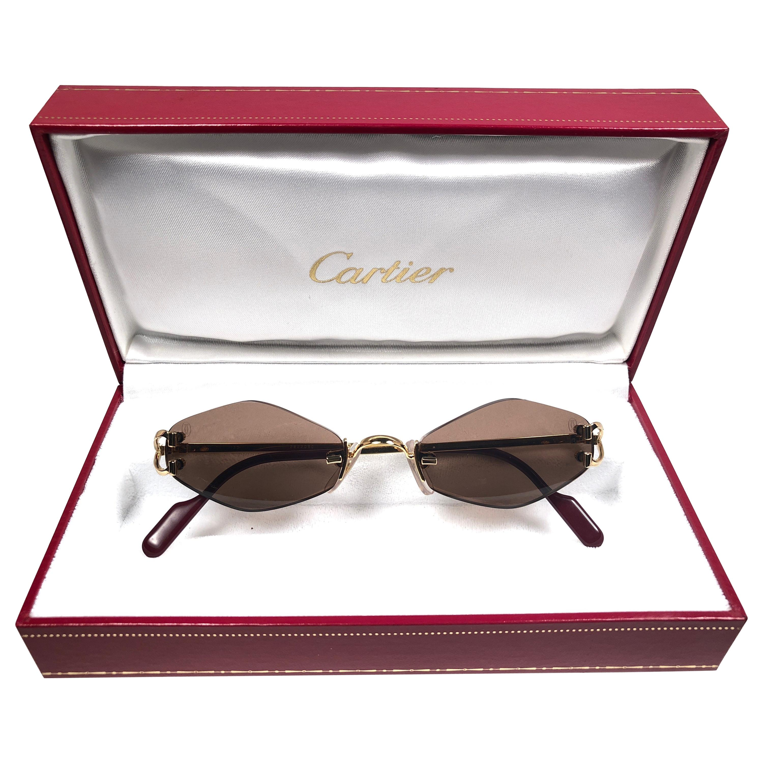 e3fbf6edeeaf1 New Vintage Cartier Soho Gold Rimless Brown Lens France Sunglasses at  1stdibs