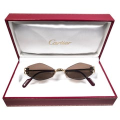 30baddb00c New Vintage Cartier Soho Gold Rimless Brown Lens France Sunglasses