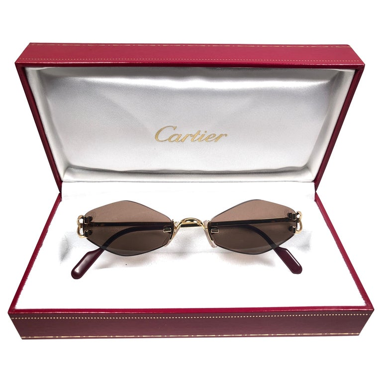 dbd0ad1b1ef0 New Vintage Cartier Soho Gold Rimless Brown Lens France Sunglasses For Sale