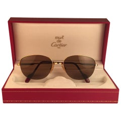 Cartier Montaigne Half Frame 57mm Sunglasses 18k Gold Sunglasses France