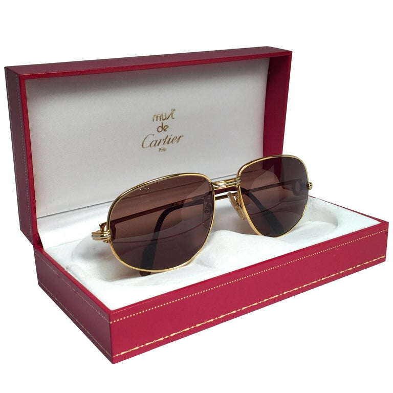 0cfc3bbfff4a New Vintage Cartier Romance Vendome 58MM France 18k Gold Plated Sunglasses  For Sale