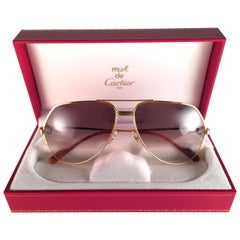 New Cartier Vendome Gold 62Mm Brown Lens Heavy Plated Sunglasses France