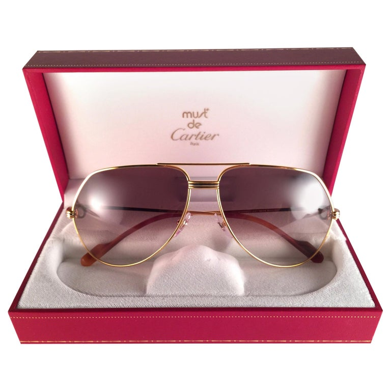 6b26300708a0 New Cartier Vendome Gold 59Mm Brown Lens Heavy Plated Sunglasses France For  Sale