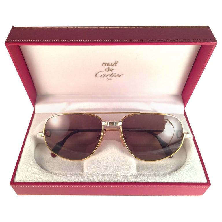 e11e44b79c5f New Vintage Cartier Romance Santos 61MM France 18k Gold Plated Sunglasses  For Sale