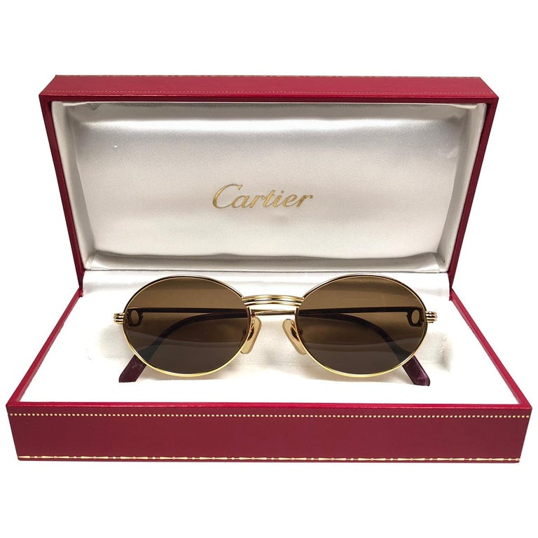 d160a933d2024 Vintage Cartier Oval St Honore Gold 49mm 18k Plated Sunglasses France For  Sale