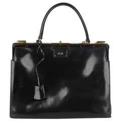 Hermes Vintage Rare Black Leather Sac 404 Top Handle Bag