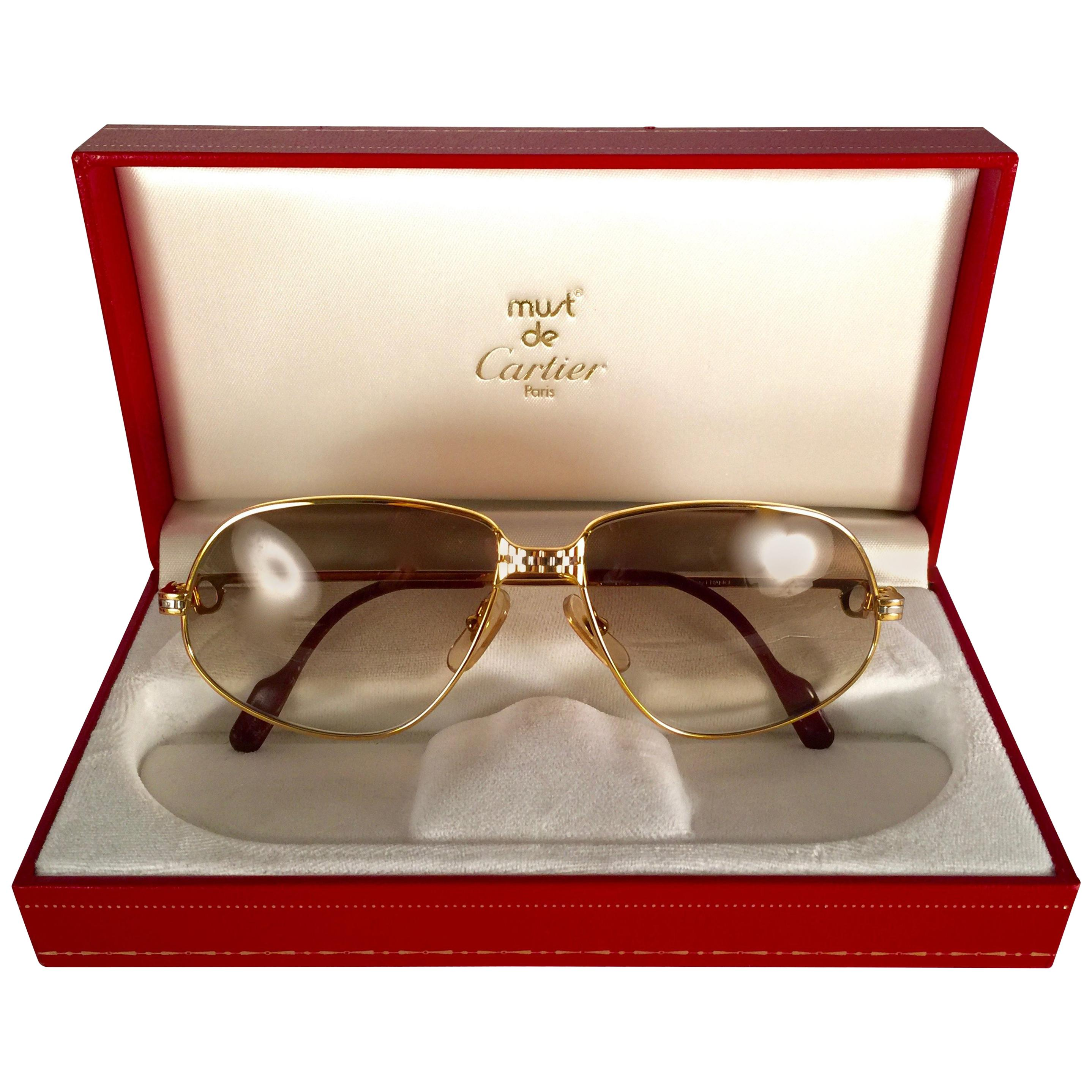 de6a2ba8e6a9 Cartier Panthere Windsor 55mm Cat Eye Sunglasses Heavy Plated France For  Sale at 1stdibs