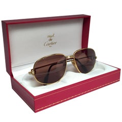 New Vintage Cartier Romance Vendome 54MM France 18k Gold Plated Sunglasses