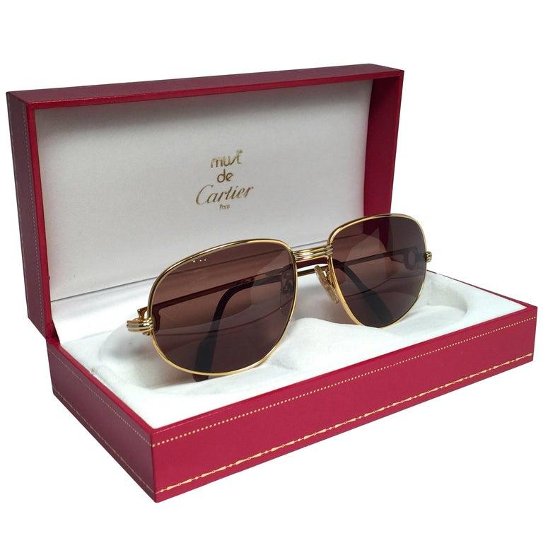 New Vintage Cartier Romance Vendome 54MM France 18k Gold Plated Sunglasses For Sale