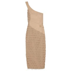 Versace Cotton-Crocheted and Silk Cady One-Shoulder Dress