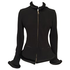 Jean Paul Gaultier Black Jacket with Padded Satin Collar, Cuffs and Hemline