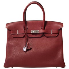 Hermes Birkin 35cm, Togo Rouge Leather, Palladium Hardware