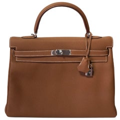 Hermes Kelly 35cm, Togo Gold Leather, Palladium Hardware