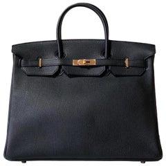 Hermes Birkin 40cm, Togo Black Leather Gold Hardware