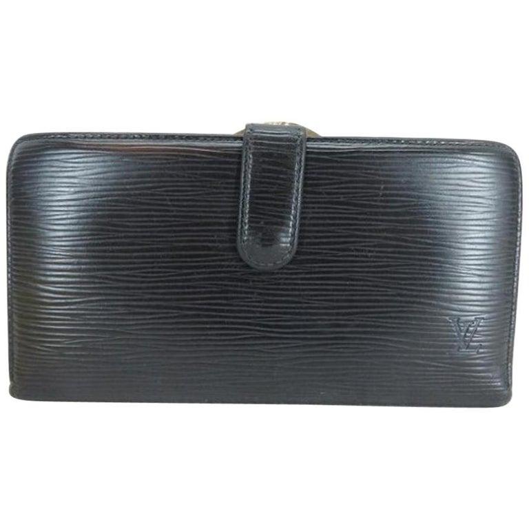 ca6f2855300a Louis Vuitton Black Noir Epi Leather Long Kisslock 219432 Wallet For Sale