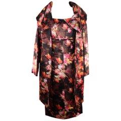 Versace Multicolor Silk Dress & Coat Set Suit Size 40 42 IT