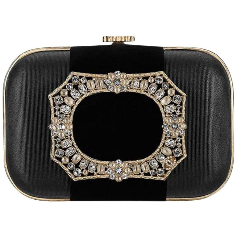 Chanel Minaudière Metiers D'art Crystal 5ccty71417 Black Clutch For Sale