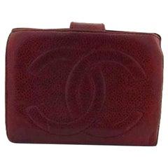 Chanel Red Caviar Burgundy Cc 216750 Wallet