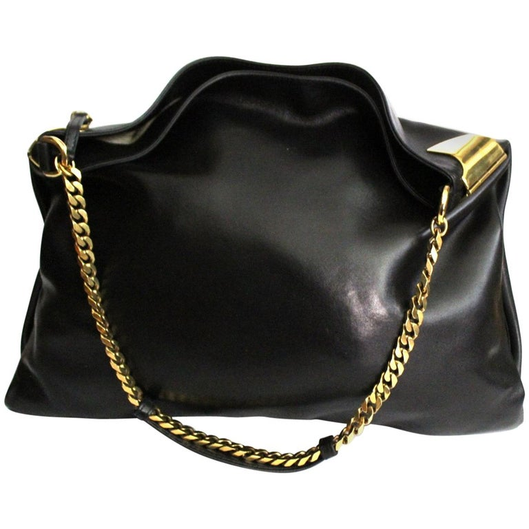 Gucci Black Leather Shoulder Bag For Sale