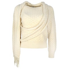 Chanel Cream Knit Sweater W/ Attached Scarf Sz 38
