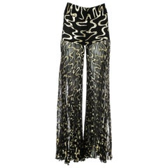 Dolce & Gabbana black and gold chiffon wide leg pleated evening pants, A/W 2000