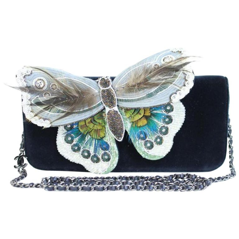 Chanel Wallet on Clutch Butterfly Feather & Sequin Chain 3ccty71417 Cross Body  For Sale