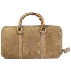 Gucci Brown Bamboo Handle Zip Clutch 2ggty71017 Wallet