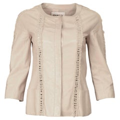 Chanel Beige Leather Jacket W/ Ladder Braiding Sz 34