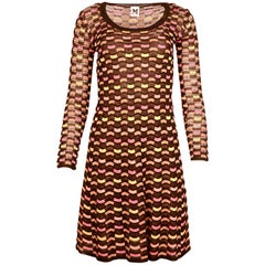 Missoni NWT Black/Multi-Color Checkered Longsleeve Knit Dress W/ Slip Sz 40