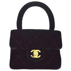 Chanel Black Velvet Top Handle Satchel Kelly Style Mini Party Evening Bag