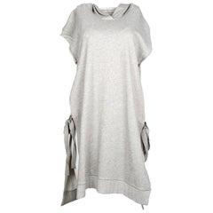 Maison Martin Margiela Grey Hooded Side Tie Sweatshirt Dress Sz M
