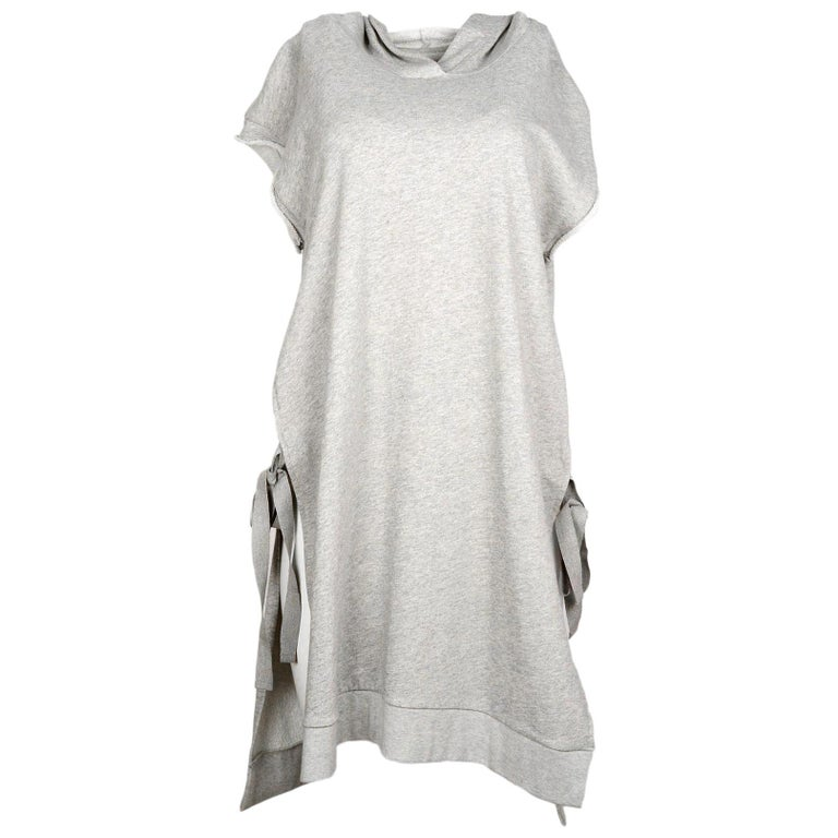 61484f4032a Maison Martin Margiela Grey Hooded Side Tie Sweatshirt Dress Sz M For Sale