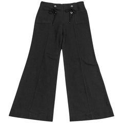 Chanel 07C Pant Sailor Influence Black Nubby Cotton 42 / 10