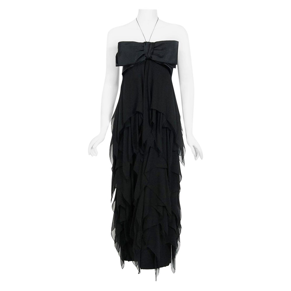 Vintage 1970 Pauline Trigere Black Silk Chiffon & Satin Halter-Bow Tiered Dress