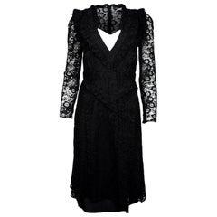 Altuzarra Black Lace Longsleeve Ruffle Dress W/ Slip Sz 42