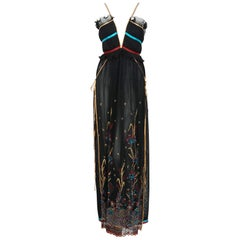 1976 Bill Gibb Pleated Silk & Embroidered Tulle Low-Plunge Metallic Ribbon Gown