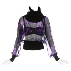 Dolce & Gabbana purple silk chiffon blouse and satin bra 2-piece set, ca. 1999