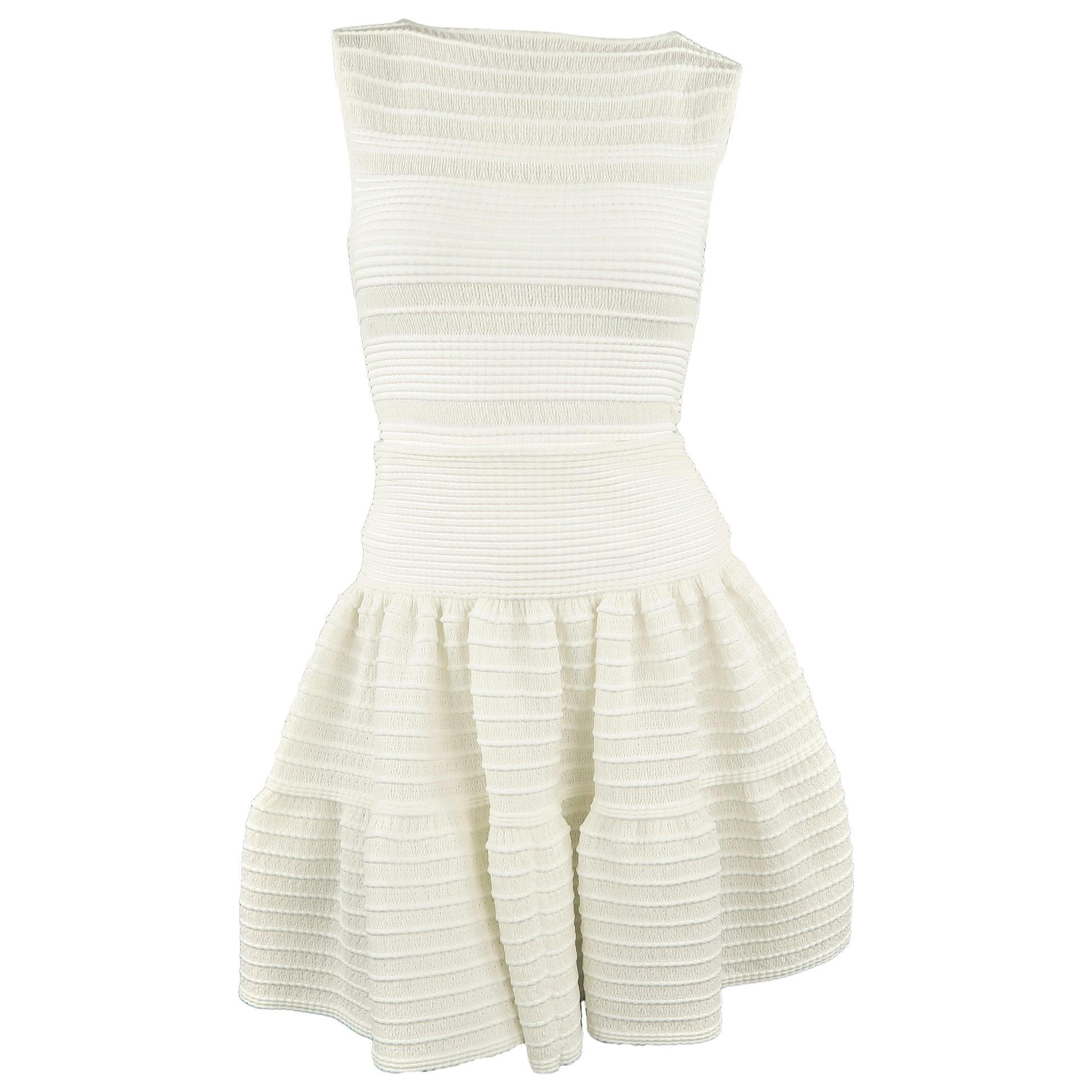 ALAIA Size S White Textured Knit Sleeveless Top & Skirt Set