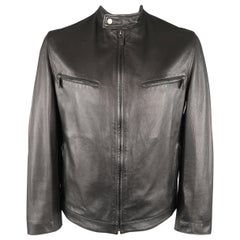 GUCCI 42 Black Textured Leather Zip Up Band Collar Motorcycle Jacket