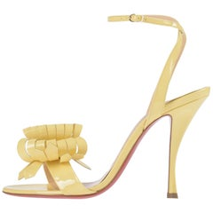 Christian Louboutin NEW Yellow Patent Bow Evening Sandals Heels in Box