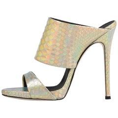 Giuseppe Zanotti NEW Iridescent Slides Mules Evening High Heels Sandals in Box