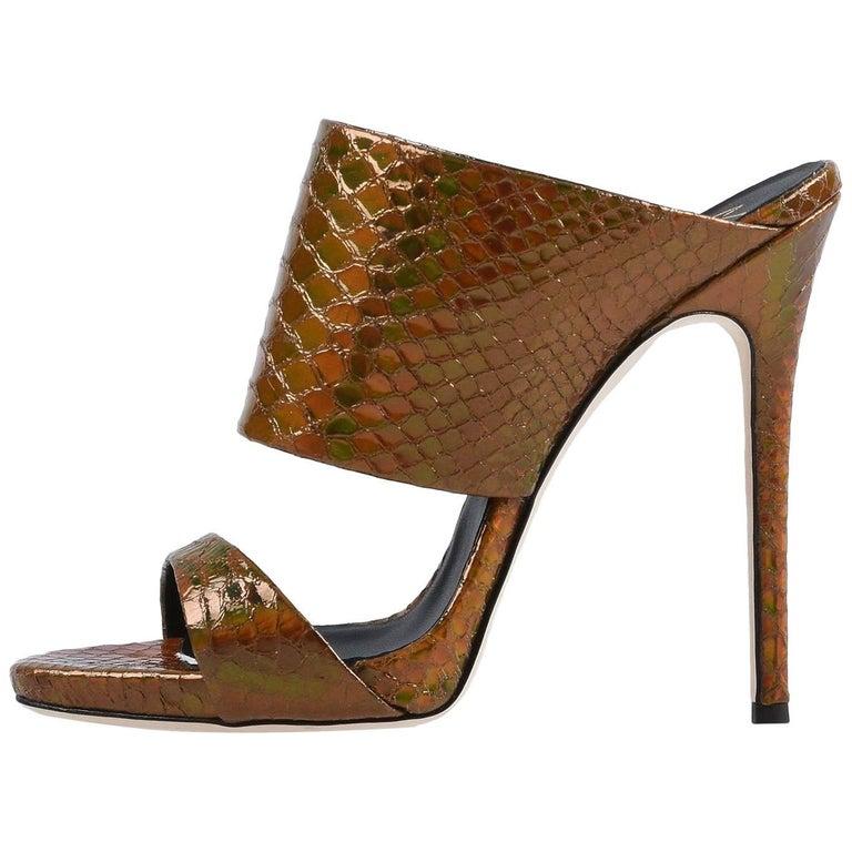 Giuseppe Zanotti NEW Bronze Slides Mules Evening High Heels Sandals in Box  For Sale