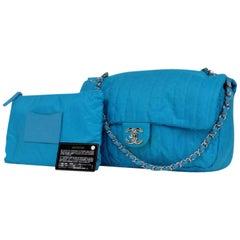 Chanel Classic Flap Jumbo Neon 216390 Blue Nylon Shoulder Bag