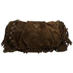 Prada Brown Suede Clutch Bag