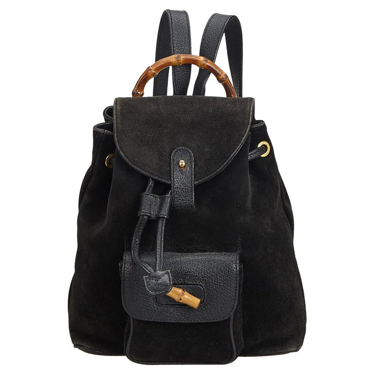 5c59216d8 Gucci Black Bamboo Suede Drawstring Backpack For Sale at 1stdibs