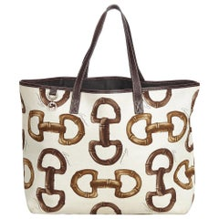 Gucci White Canvas Horsebit Print Tote Bag